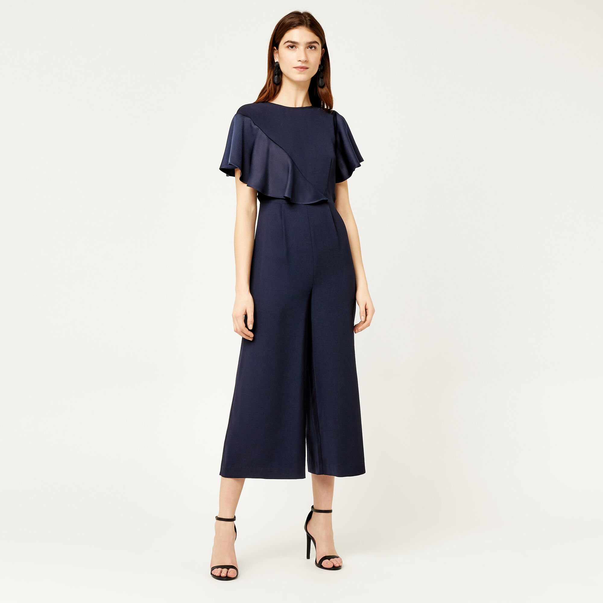 Warehouse, SATIN AND CREPE MIX JUMPSUIT Navy 1