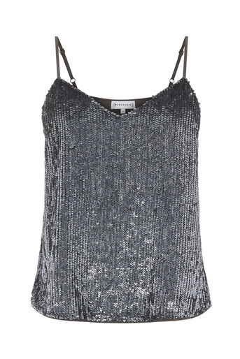 Warehouse, SEQUIN CAMI Dark Grey 0