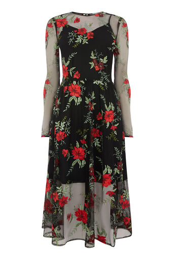 Warehouse, FLORAL EMBROIDERED MIDI DRESS Multi 0