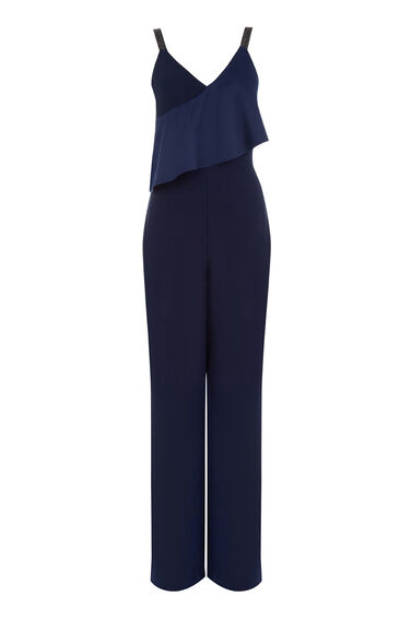 Warehouse, FRILL FRONT DIAMANTE JUMPSUIT Navy 0