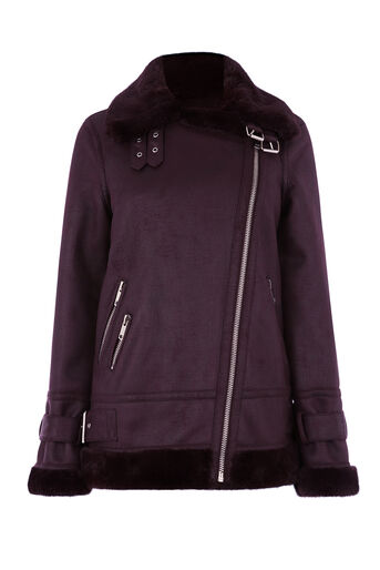 Warehouse, OVERSIZED BIKER JACKET Berry 0