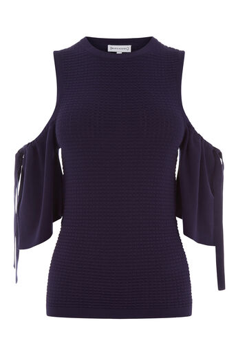 Warehouse, TEXTURED COLD SHOULDER TOP Navy 0