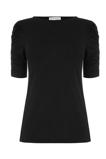 Warehouse, RUCHED SHORT SLEEVE TOP Black 0
