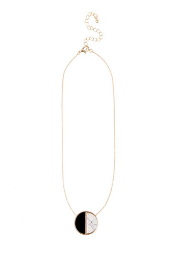 Warehouse, RESIN AND MARBLE DROP NECKLACE Black 0