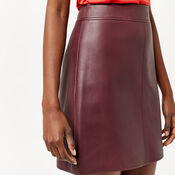 Warehouse, Faux Leather A Line Skirt Dark Red 4