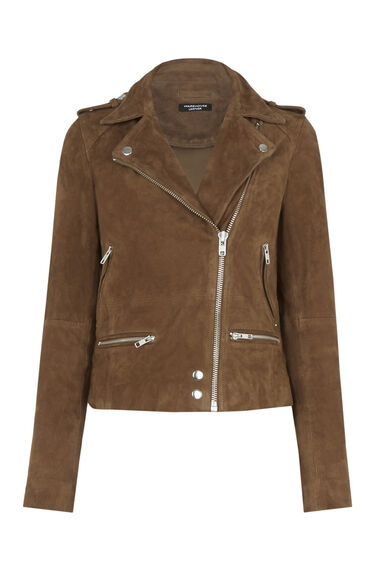 Warehouse, Suede Biker Jacket Tan 0