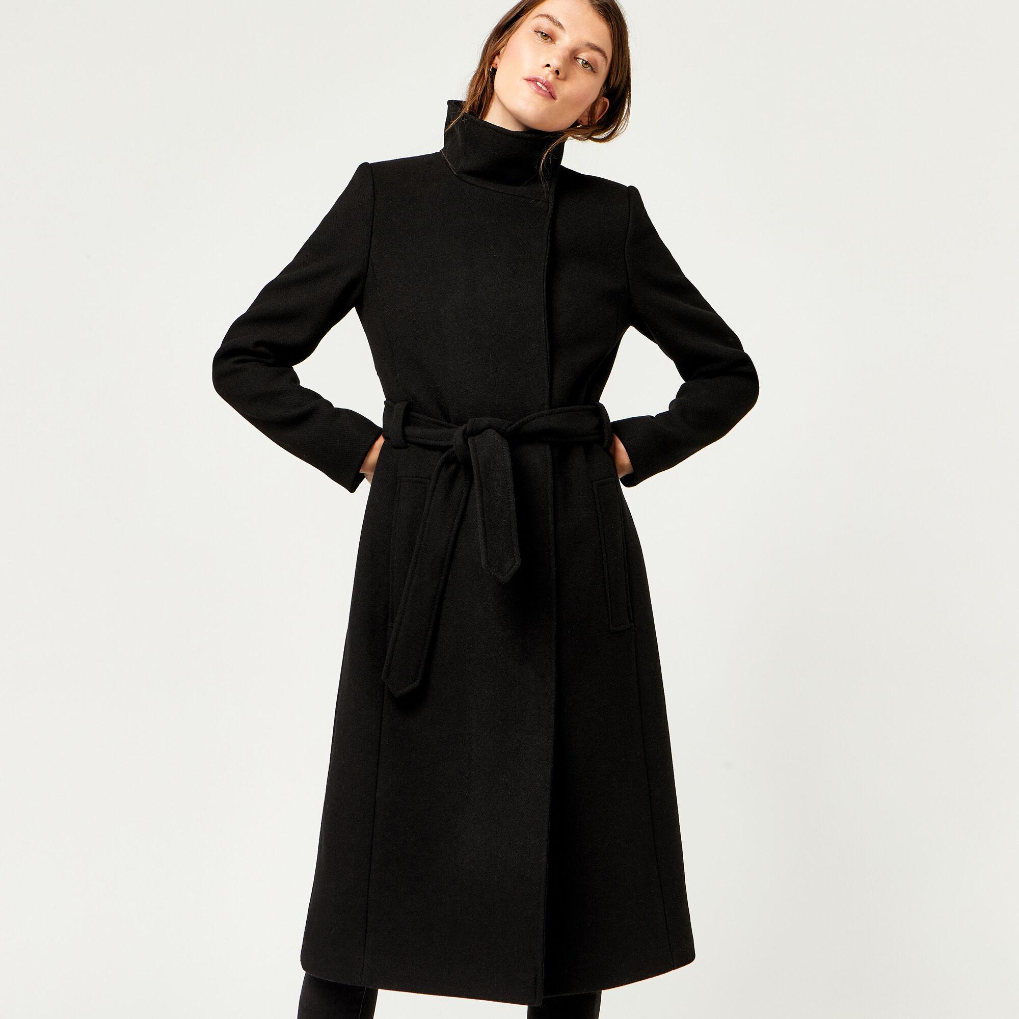 Warehouse, Longline Funnel Coat Black 1