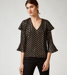 Warehouse, METALLIC SPOT RUFFLE TOP Black Pattern 3