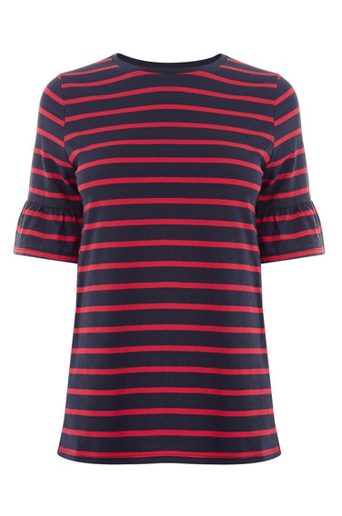 Warehouse, STRIPE FLUTE SLEEVE TEE Red Stripe 0