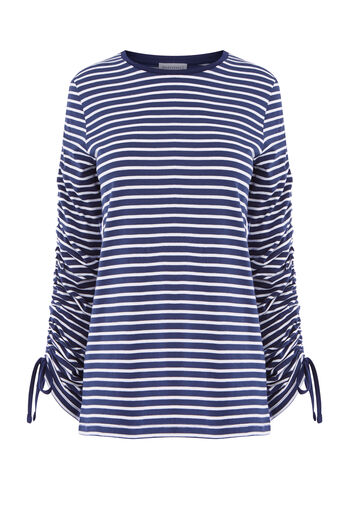 Warehouse, STRIPE RUCHE LONG SLEEVE TOP Blue Stripe 0