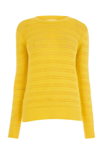 Warehouse, STITCHY OPEN BACK JUMPER Yellow 0