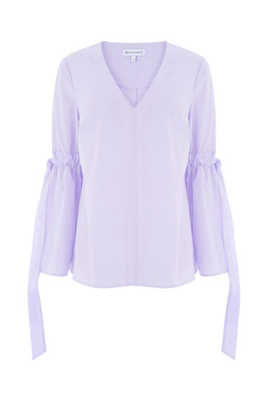 Warehouse, COTTON TIE SLEEVE TOP Lilac 0