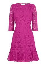 Warehouse, LACE PEPLUM SLEEVE DRESS Light Pink 0