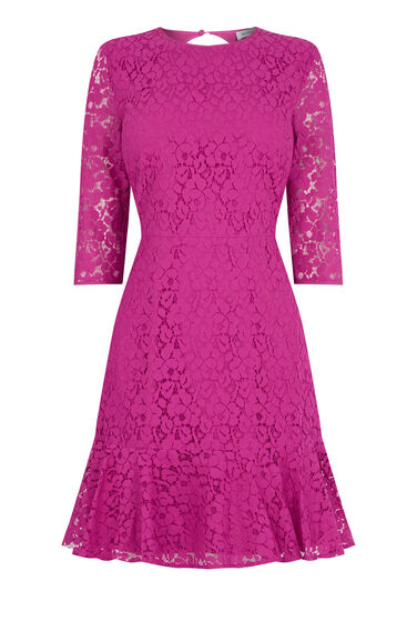 Warehouse, LACE PEPLUM SLEEVE DRESS Light Pink 0