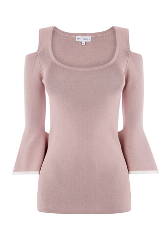 Warehouse, SQUARE CUFF TOP Light Pink 0