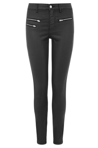 Warehouse, COATED BIKER JEANS Black 0