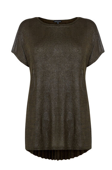 Warehouse, METALLIC PLEAT BACK TOP Dark Green 0