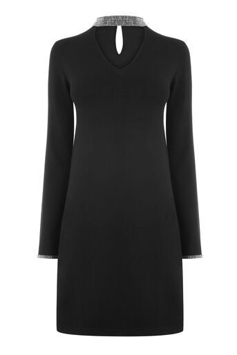 Warehouse, EMBELLISHED CHOKER NECK DRESS Black 0