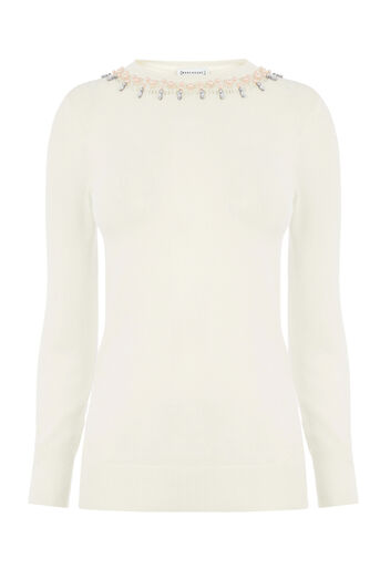 Warehouse, EMBELLISHED PEARL JUMPER Cream 0