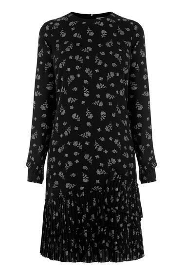 Warehouse, DOTTY FLORAL PLEATED HEM DRESS Black Pattern 0