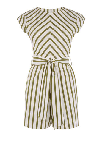 Warehouse, STRIPE BELTED PLAYSUIT Green Stripe 0