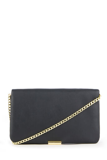 Warehouse, METAL CHAIN CLASP CROSSBODY Black 0