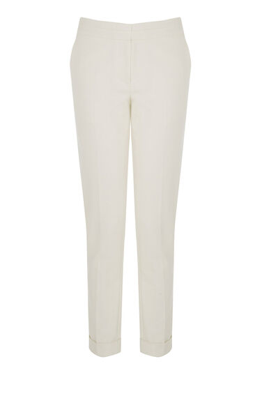 Warehouse, COMPACT COTTON TROUSERS White 0