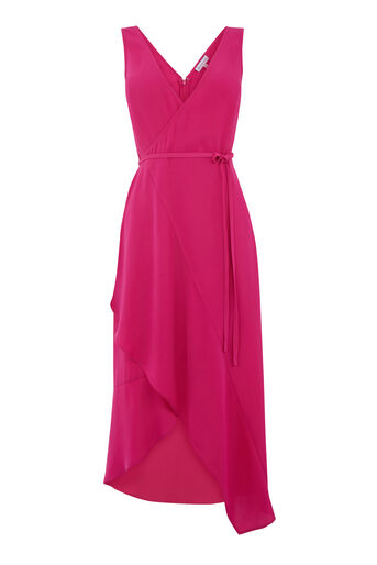 Warehouse, ASYMMETRIC WRAP CAMI DRESS Bright Pink 0