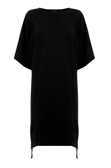 Warehouse, Drawstring Oversized Dress Black 0