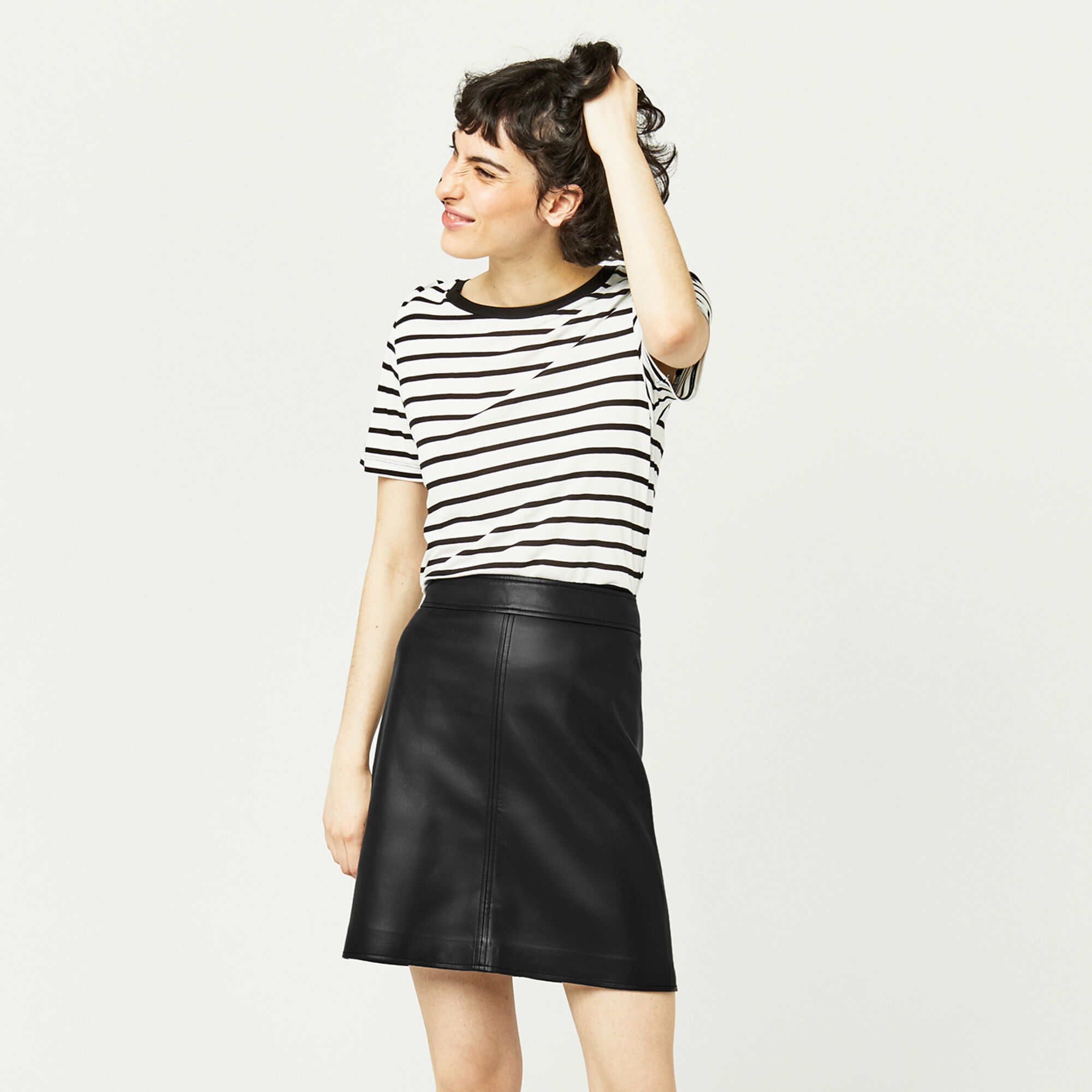 Warehouse, Faux Leather A Line Skirt Black 1
