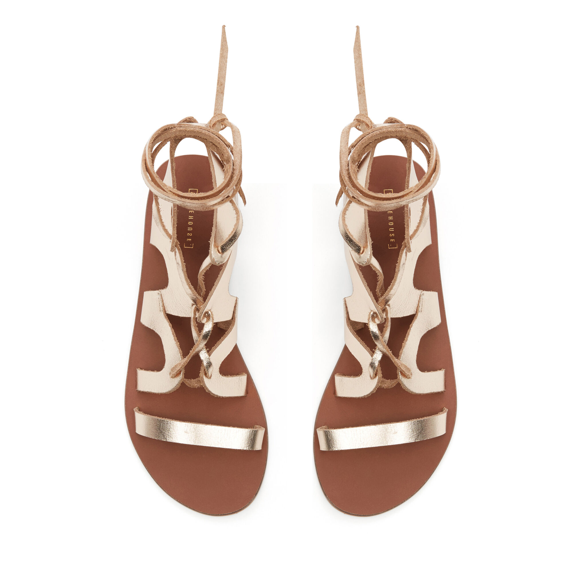 Warehouse, LEATHER GLADIATOR SANDAL Gold Colour 1