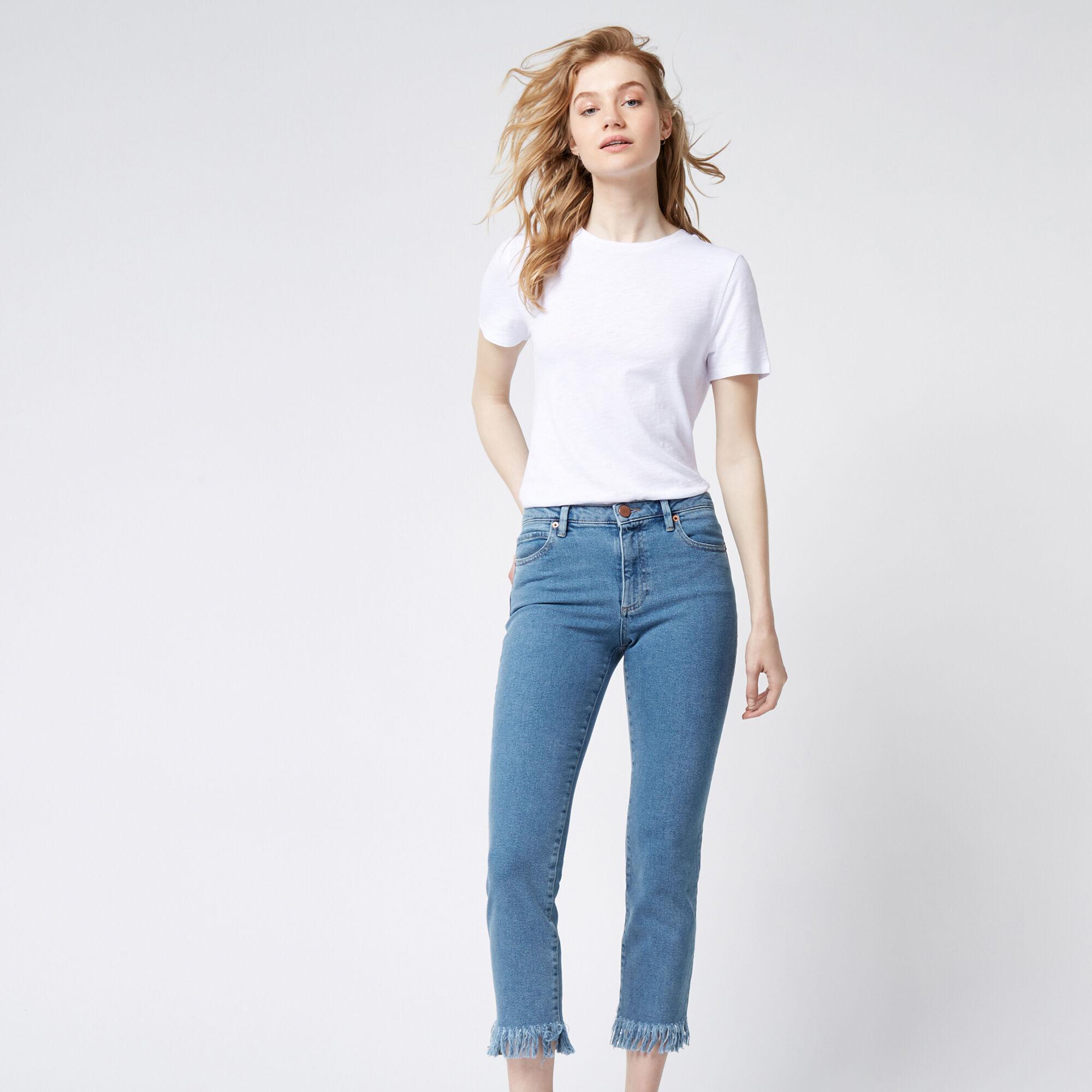 Warehouse, Frayed Hem Jeans Light Wash Denim 1