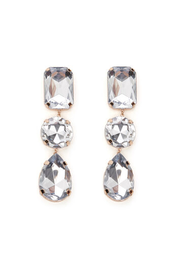 Warehouse, OVERSIZED JEWELLED EARRINGS Rose Gold 0