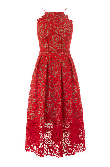 Warehouse, LACE HALTER DRESS Bright Red 0