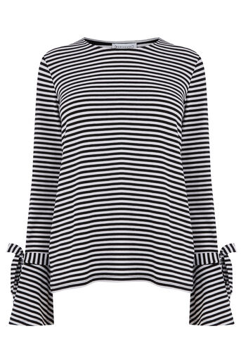 Warehouse, STRIPE TIE CUFF TOP Black Stripe 0