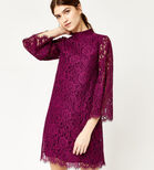 Warehouse, TWO TONE LACE DRESS Raspberry 1