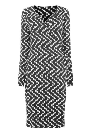Warehouse, CHEVRON PRINT WRAP DRESS Black Pattern 0