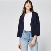 Warehouse, SPLIT CUFF POPPER CARDI Navy 1