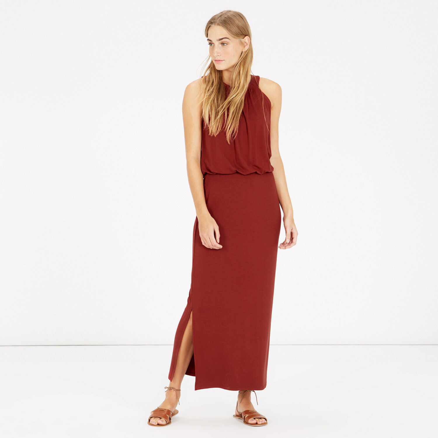 Warehouse, HIGH NECK MIDI DRESS Brown 1