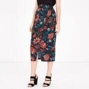 Warehouse, Botanical Drawn Floral Skirt Black Pattern 1