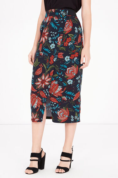 Warehouse, Botanical Drawn Floral Skirt Black Pattern 0