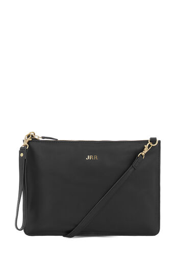 Warehouse, MONOGRAM LEATHER TOP ZIP BAG Black 0