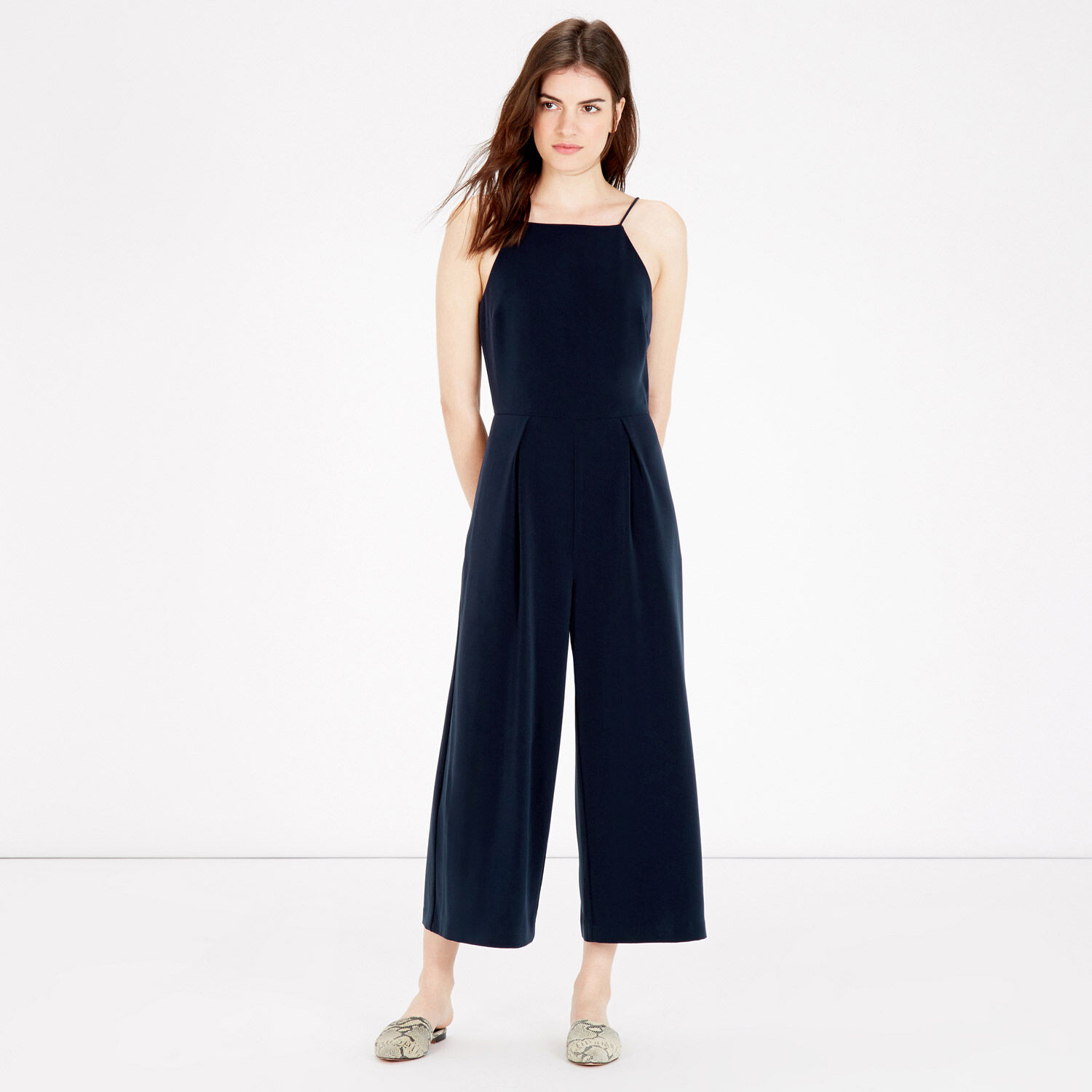 Warehouse, STRAPPY CROPPED JUMPSUIT Navy 1