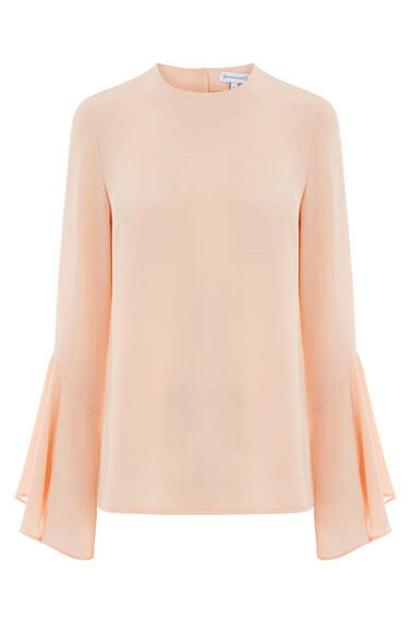 Warehouse, BUTTON BACK FLUTED SLEEVE TOP Light Pink 0