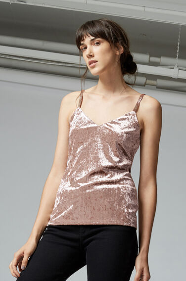 Warehouse, CRUSHED VELVET CAMI Mink 1