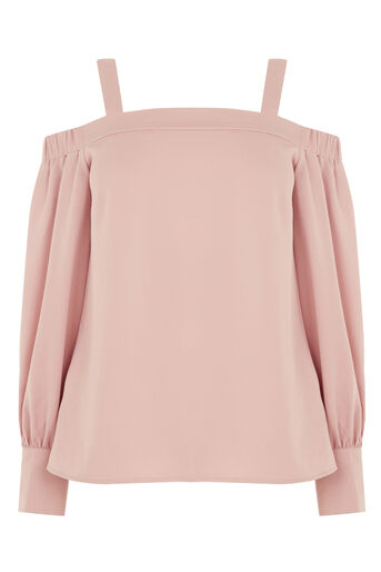 Warehouse, STRAPPY BARDOT TOP Light Pink 0
