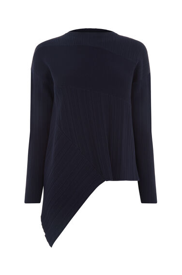 Warehouse, MULTI RIB ASYMMETRIC JUMPER Navy 0