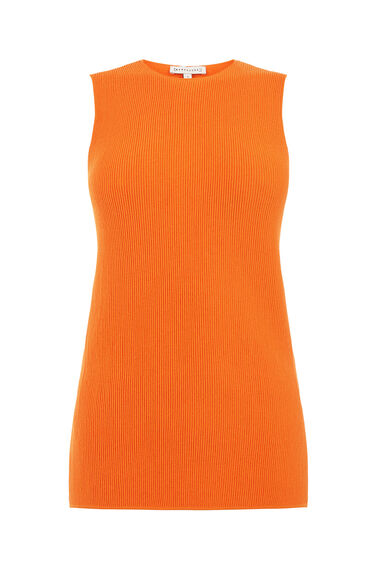 Warehouse, SLEEVELESS RIBBED TOP Orange 0