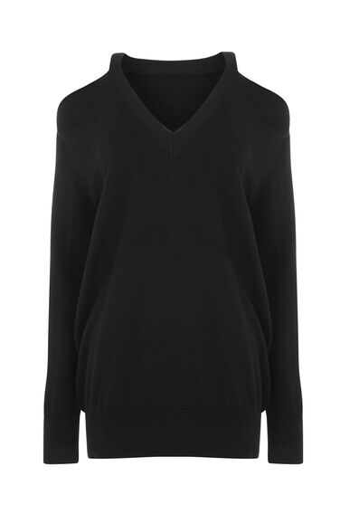 Warehouse, COLD SHOULDER V NECK JUMPER Black 0