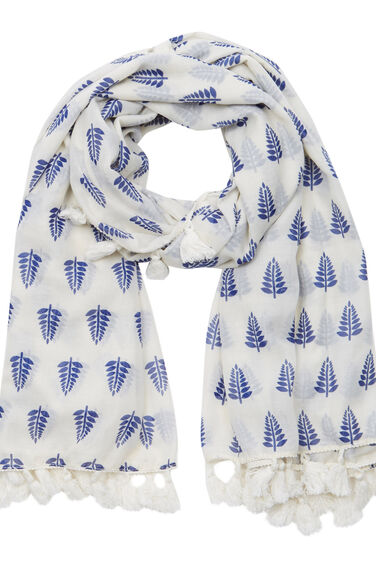 Warehouse, Woodblock Tassel Scarf Blue Pattern 0